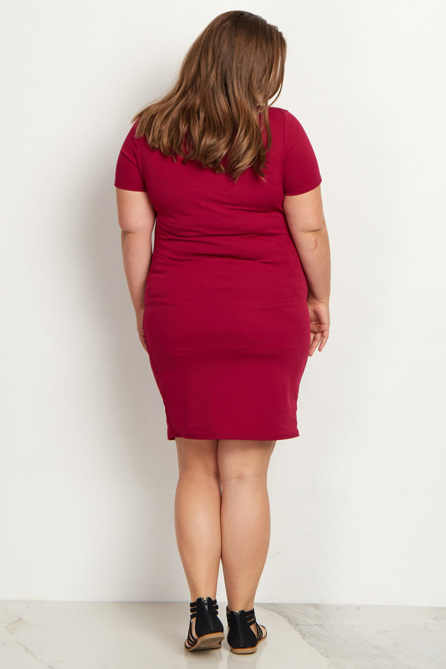 Magenta Fitted Plus Size Maternity Dress