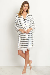 PinkBlush White Striped Lace Trim Delivery/Nursing Maternity Robe