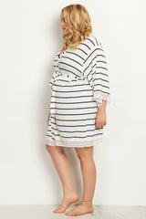 White Striped Lace Trim Plus Delivery/Nursing Maternity Robe