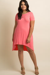 Pink Basic Hi-Low Plus Maternity Dress