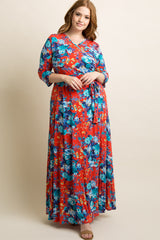 Red Floral Draped 3/4 Sleeve Plus Maternity Maxi Dress