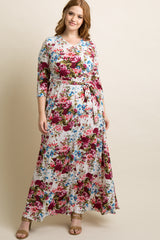 White Floral Draped 3/4 Sleeve Plus Maxi Dress