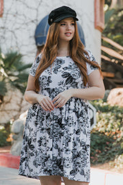 White Grey Floral Short Sleeve Plus Dress