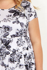 White Grey Floral Short Sleeve Plus Maternity Dress