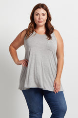 Grey Pocket Front Plus Size Maternity Tank Top