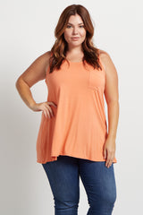 Orange Pocket Front Plus Size Tank Top