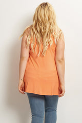 Orange Pocket Front Plus Size Tank Maternity Top