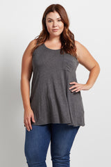 Charcoal Pocket Front Plus Size Maternity Tank Top