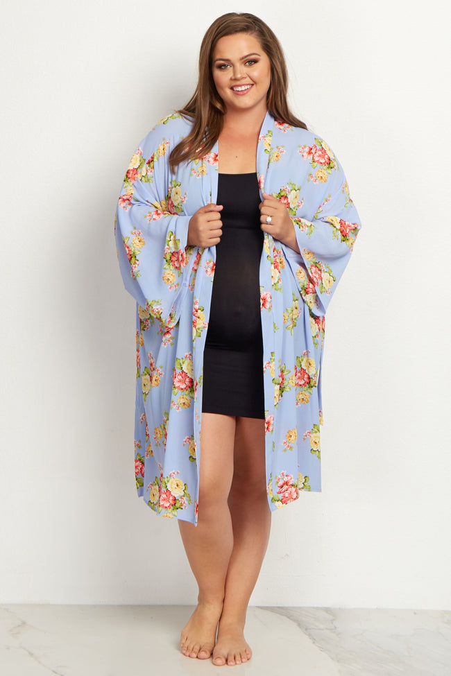 Light Blue Floral Plus Size Delivery/Nursing Maternity Robe