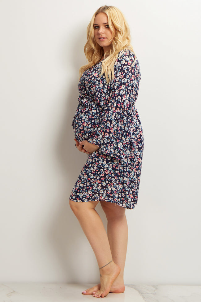 Navy Blue Daisy Plus Size Delivery/Nursing Maternity Robe