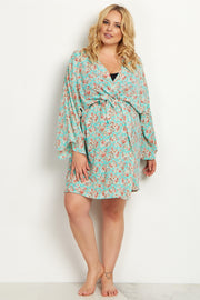 Mint Green Floral Plus Size Delivery/Nursing Maternity Robe