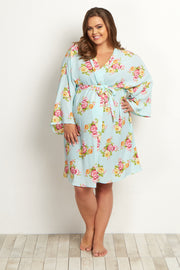 Mint Floral Plus Size Delivery/Nursing Maternity Robe