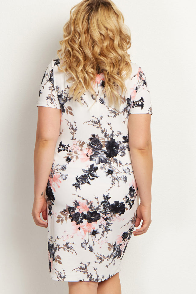 PinkBlush White Floral Fitted Plus Maternity Dress