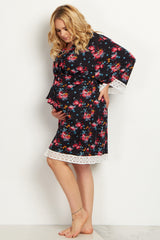 Black Floral Lace Trim Plus Size Delivery/Nursing Maternity Robe