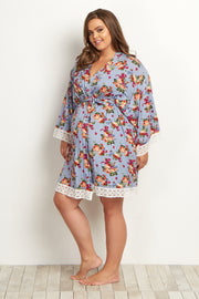 Light Blue Floral Lace Trim Plus Delivery/Nursing Maternity Robe