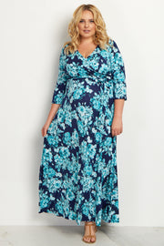 Aqua Floral Draped Delivery/Nursing Plus Maternity Maxi Dress