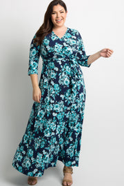 Aqua Floral Draped Plus Maxi Dress