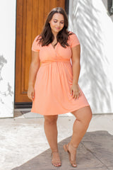 Peach Draped Front Plus Nursing Dress