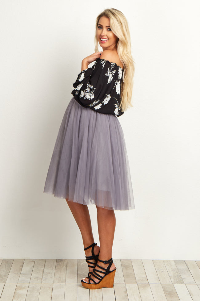 Grey Tulle Mesh Maternity Midi Skirt