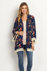 Navy Blue Floral Crochet Trim Cover Up