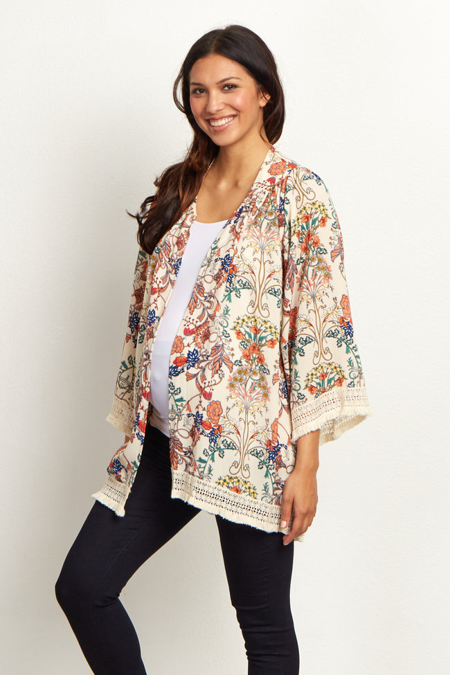 Ivory Floral Crochet Trim Maternity Cover Up