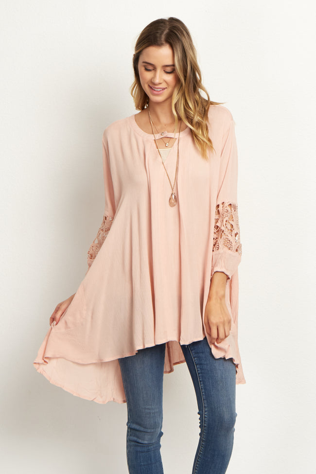 Pink Cutout Front Hi-Low Maternity Top