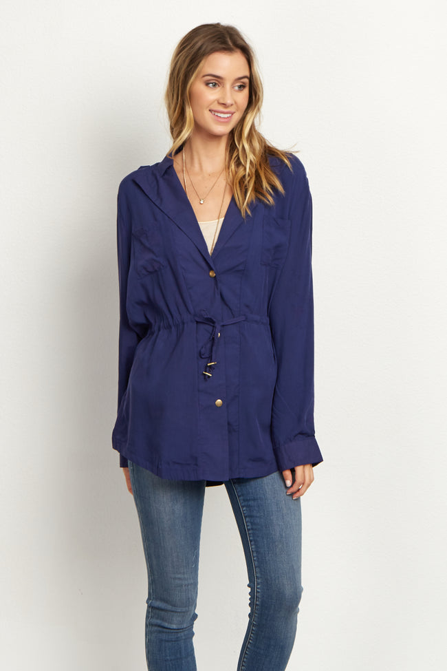 Navy Blue Cinched Jacket/Blouse