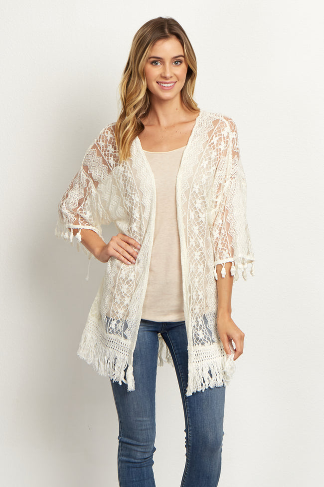 Ivory Lace Fringed Cardigan