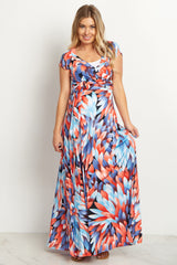 Coral Abstract Maternity/Nursing Maxi Dress