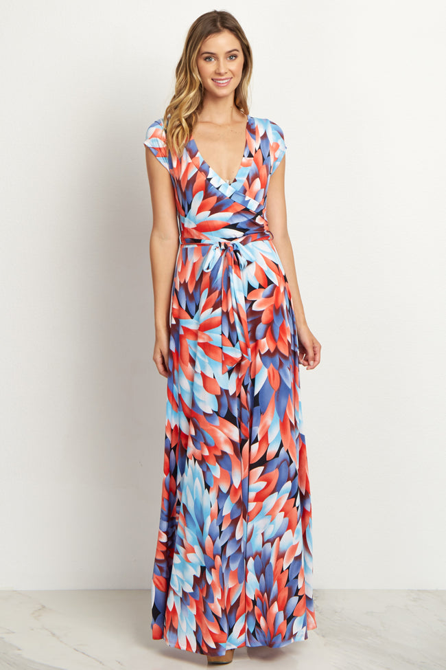 Coral Abstract Maxi Dress