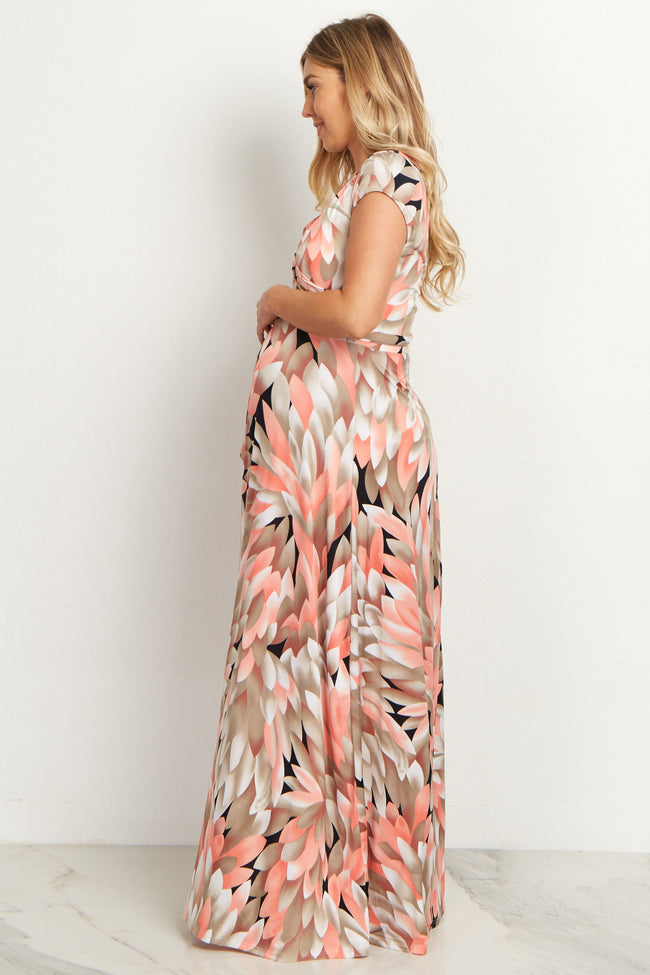 Peach Abstract Maternity/Nursing Maxi Dress