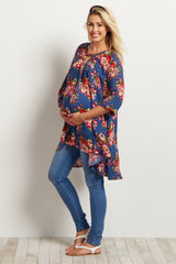 Blue Floral Cutout Front Maternity Top