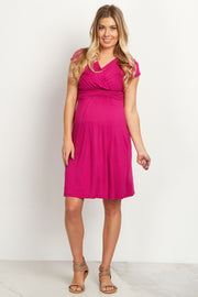 Fuchsia Draped Front Maternity Dress