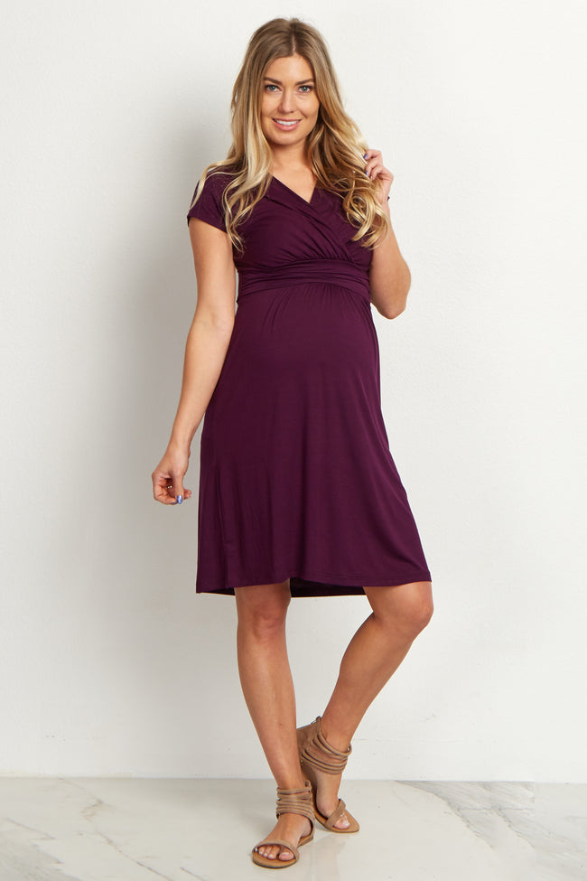 Plum Draped Front Maternity Nursing Dress
