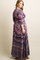 Purple Abstract Plus Maxi Dress