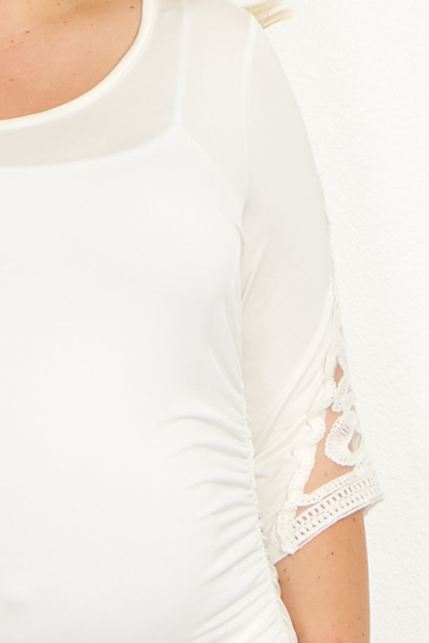 Ivory Crochet Sleeve Fitted Plus Maternity Top