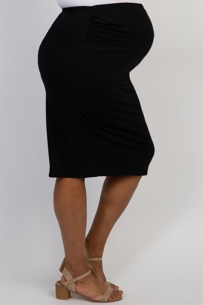Black Fitted Plus Maternity Pencil Skirt