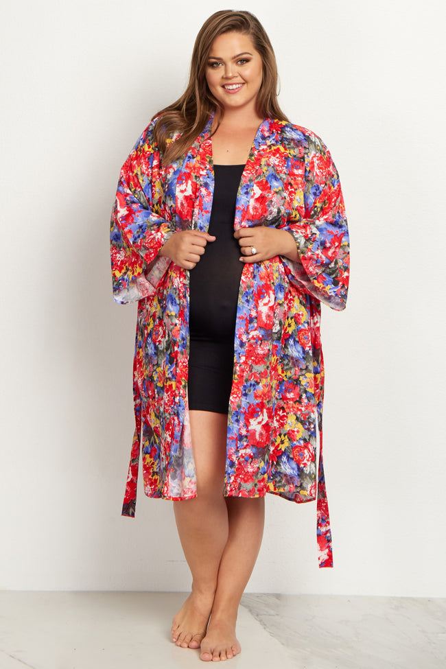 Royal Red Floral Plus Size Delivery/Nursing Maternity Robe