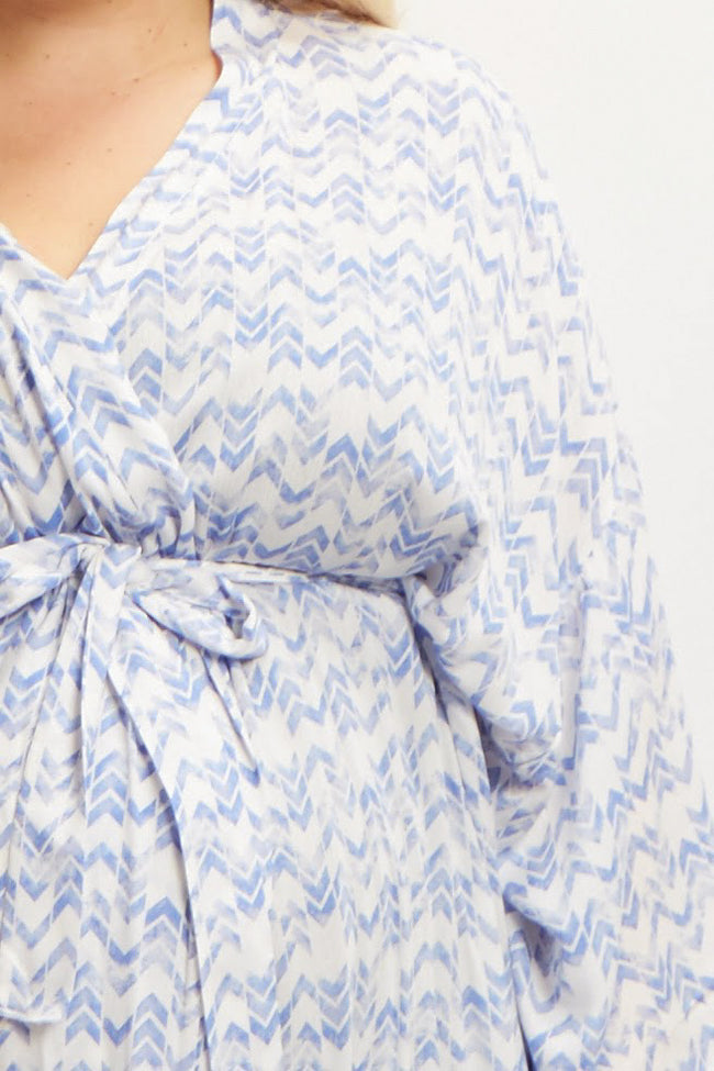 Blue Chevron Plus Size Delivery/Nursing Maternity Robe
