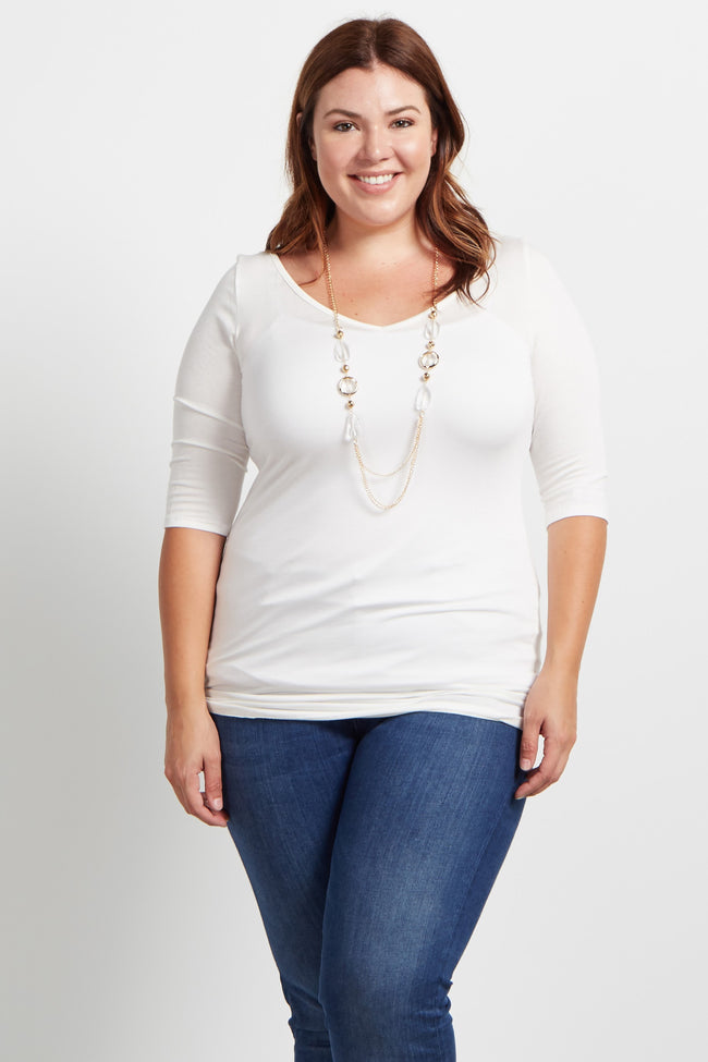 Ivory Fitted Plus Size Maternity Top W/ Necklace
