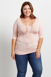 Light Pink Fitted Plus Size Top W/ Necklace