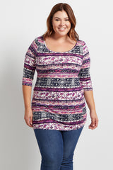 Multi-Color Abstract 3/4 Sleeve  Plus Size Top