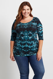 Green Abstract 3/4 Sleeve Plus Size Maternity Top