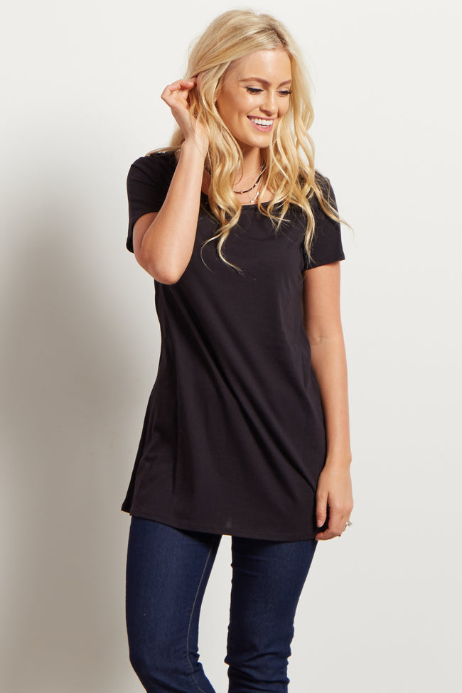 Black Solid Basic Short Sleeve Maternity Top