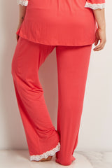 Coral Lace Trim Plus Maternity Pajama Pant