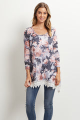 Navy Blue Floral Crochet Trim Top