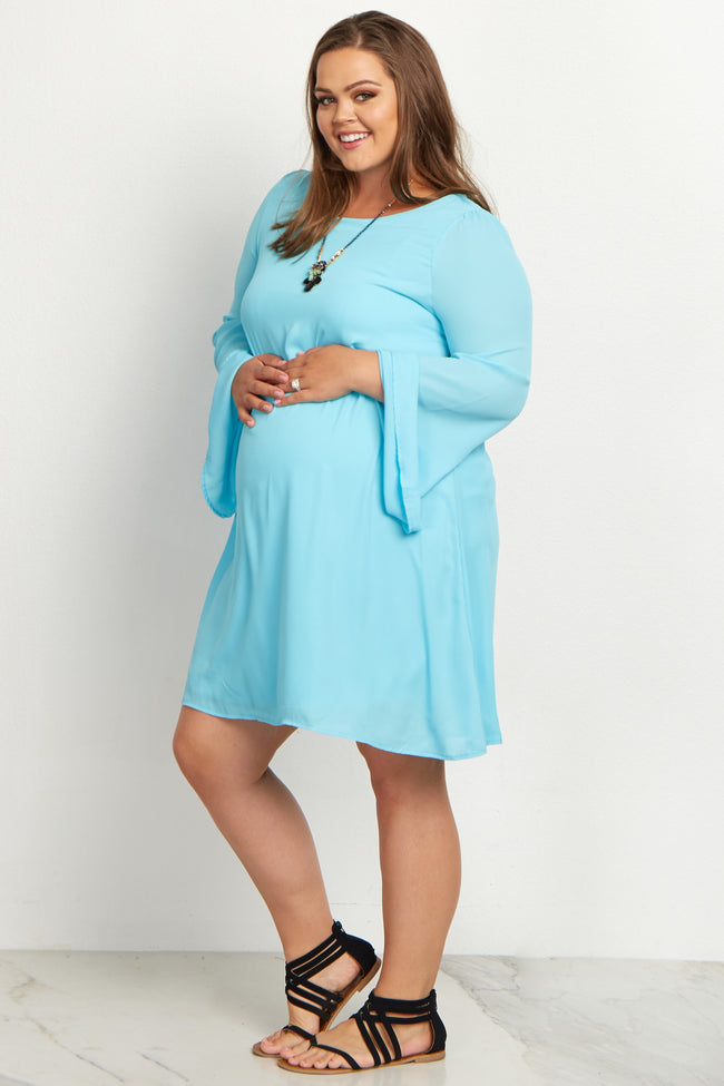 Aqua Chiffon Bell Sleeve Plus Maternity Dress