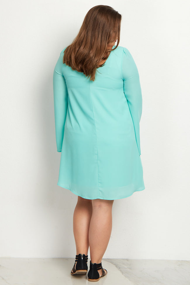 Mint Green Chiffon Bell Sleeve Plus Size Maternity Dress