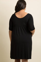 Black 3/4 Sleeve Plus Dress