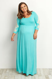 Mint Green Crochet Sleeve Plus Maternity Maxi Dress